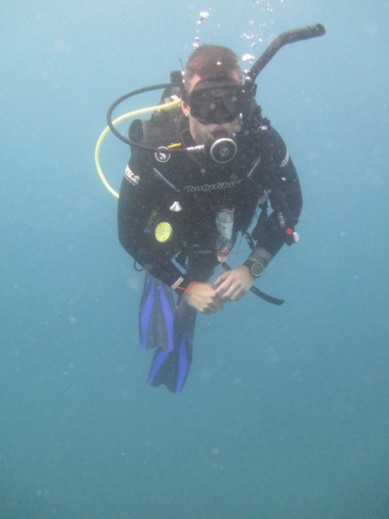 Brad deep diving in Tenerife